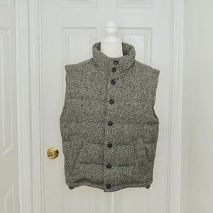 BROOKS BROTHERS Gray Wool Houndstooth Puffer Vest